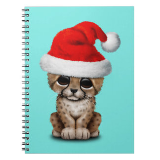 Cute Cheetah Cub Wearing a Santa Hat Notebook