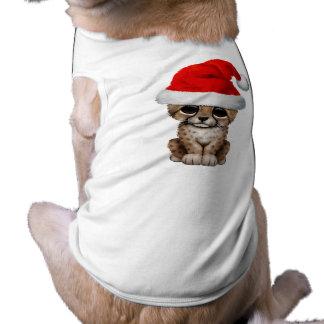Cute Cheetah Cub Wearing a Santa Hat Shirt