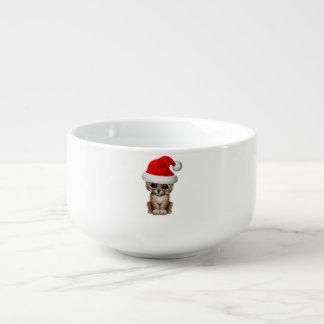 Cute Cheetah Cub Wearing a Santa Hat Soup Mug