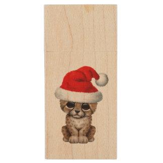Cute Cheetah Cub Wearing a Santa Hat Wood USB Flash Drive