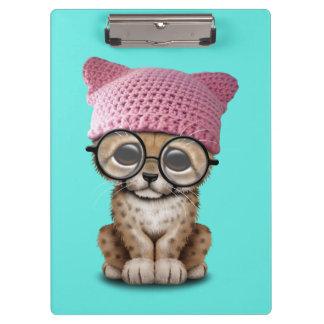 Cute Cheetah Cub Wearing Pussy Hat Clipboard