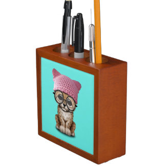 Cute Cheetah Cub Wearing Pussy Hat Desk Organiser