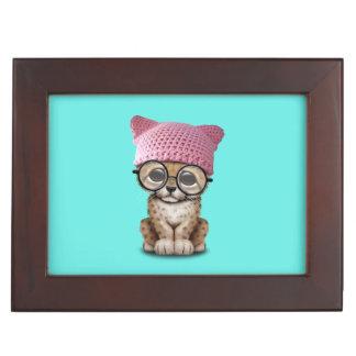 Cute Cheetah Cub Wearing Pussy Hat Keepsake Box