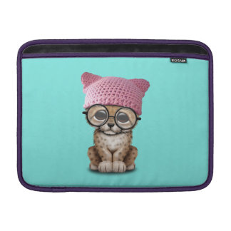 Cute Cheetah Cub Wearing Pussy Hat MacBook Sleeve