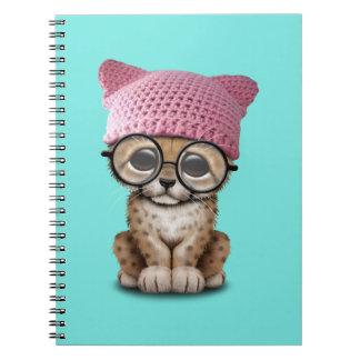 Cute Cheetah Cub Wearing Pussy Hat Notebook