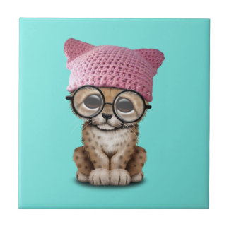 Cute Cheetah Cub Wearing Pussy Hat Small Square Tile