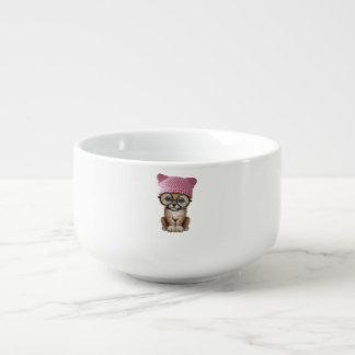 Cute Cheetah Cub Wearing Pussy Hat Soup Mug