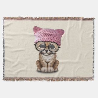 Cute Cheetah Cub Wearing Pussy Hat Throw Blanket