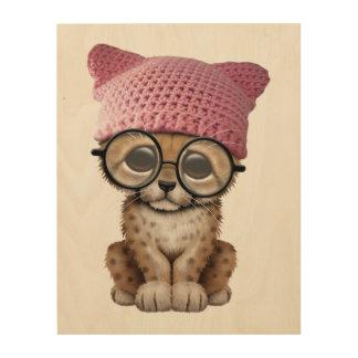 Cute Cheetah Cub Wearing Pussy Hat Wood Wall Decor