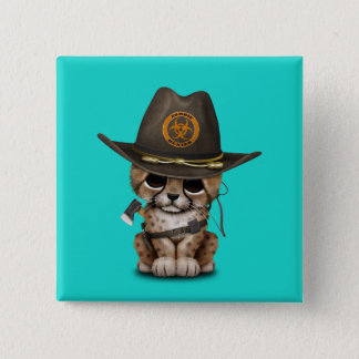Cute Cheetah Cub Zombie Hunter 15 Cm Square Badge