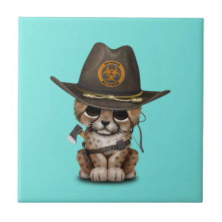 Cute Cheetah Cub Zombie Hunter Ceramic Tile