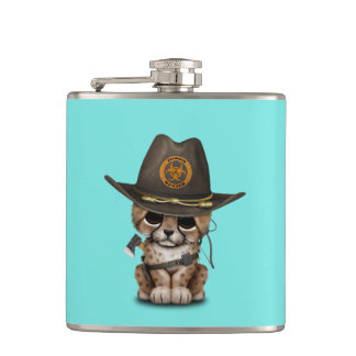 Cute Cheetah Cub Zombie Hunter Hip Flask