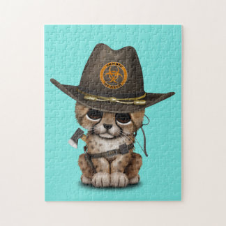 Cute Cheetah Cub Zombie Hunter Jigsaw Puzzle