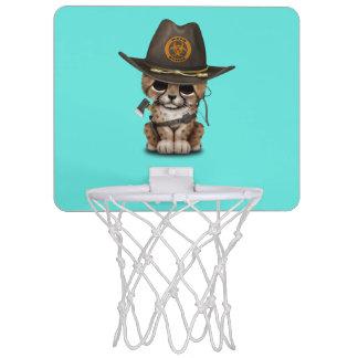 Cute Cheetah Cub Zombie Hunter Mini Basketball Hoop