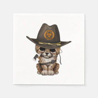 Cute Cheetah Cub Zombie Hunter Paper Napkins