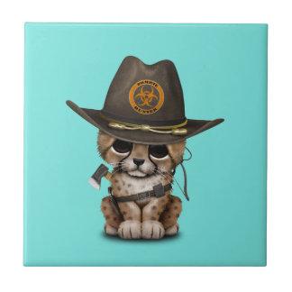 Cute Cheetah Cub Zombie Hunter Small Square Tile