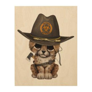 Cute Cheetah Cub Zombie Hunter Wood Wall Art