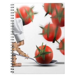 Cute chef box character catching tomatoes notebook