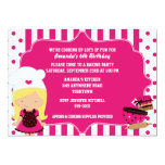Cute Chef Girl's Baking Birthday Party 13 Cm X 18 Cm Invitation Card