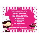 Cute Chef Girl's Cooking Birthday Party 13 Cm X 18 Cm Invitation Card
