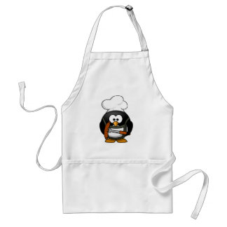 Cute Chef Penguin Cooking A Sausage Standard Apron