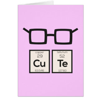 Cute chemical Element Nerd Glasses Zwp34 Card