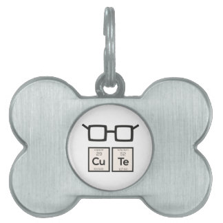 Cute chemical Element Nerd Glasses Zwp34 Pet ID Tag