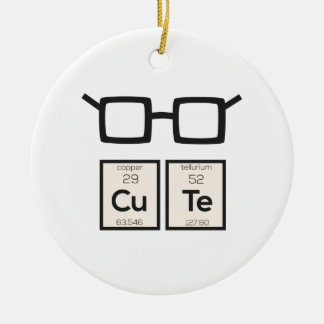 Cute chemical Element Nerd Glasses Zwp34 Round Ceramic Decoration