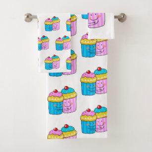 cute cherry cupcakes best friends bath towel set
