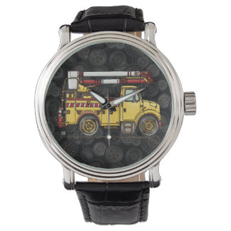 Cute Cherry Picker Truck Wristwatches