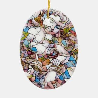 Cute Cherub in Garden Stained Glass Ceramic Ornament