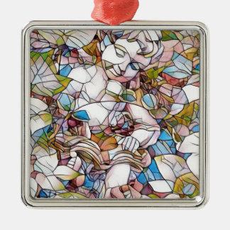 Cute Cherub in Garden Stained Glass Metal Ornament