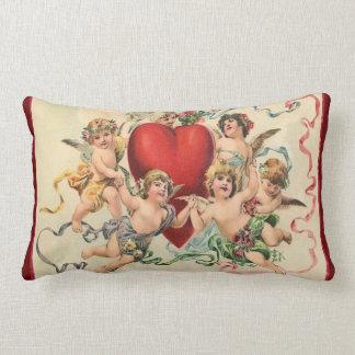 Cute Cherubs with a Red Heart Valentine Lumbar Pillow