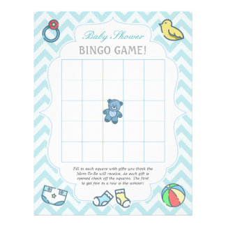 Cute Chevron Baby Shower Bingo Game Flyer