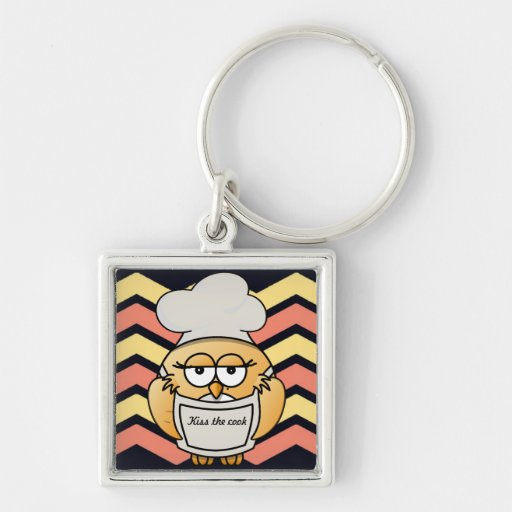 "Cute Chevron Chef Owl ""Kiss the Cook"" Keychain Keychain"