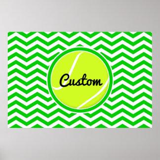 Cute Chevron Custom Tennis Poster