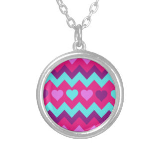 Cute Chevron Hearts Pink Teal Teen Girl Gifts Round Pendant Necklace