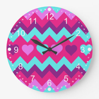 Cute Chevron Hearts Pink Teal Teen Girl Gifts Wallclocks