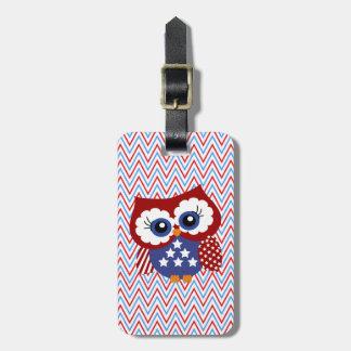 Cute Chevron Zigzag and Patriotic Owl Luggage Tag