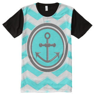 Cute Chevron Zigzag Pattern Anchor Smile All-Over Print T-Shirt