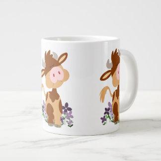 Cute Chewing Cartoon Cow Large Coffee Mug