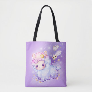 Cute chibi alpaca with kawaii shooting star tote bag