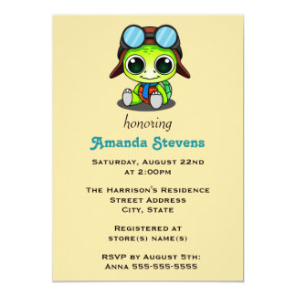 Cute Chibi Cartoon Turtle Baby Shower Card