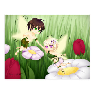 Cute Chibi Fairy Boy and girl Postcard