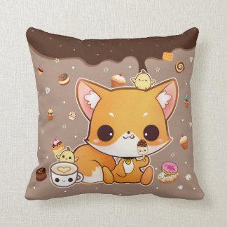 Cute chibi fox with kawaii icecream cushion