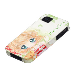 Cute chibi girl and kawaii plushie - Personalized iPhone 4 Cases