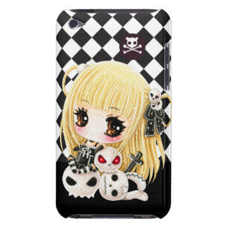 Cute chibi girl and kawaii skulls barely there iPod case