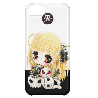 Cute chibi girl and kawaii skulls case for iPhone 5C