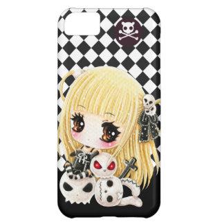 Cute chibi girl and kawaii skulls iPhone 5C case