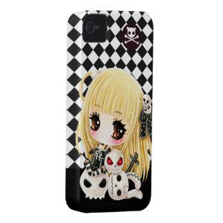 Cute chibi girl and kawaii skulls Case-Mate iPhone 4 cases